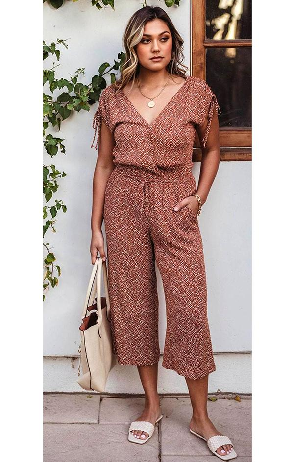 Veronica m orange tan white polka dot short sleeve Culotte Woven Jumpsuit