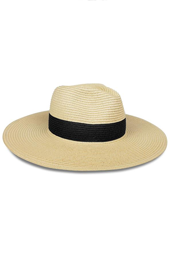 hat attack summer trendy straw tan hat with black stripe