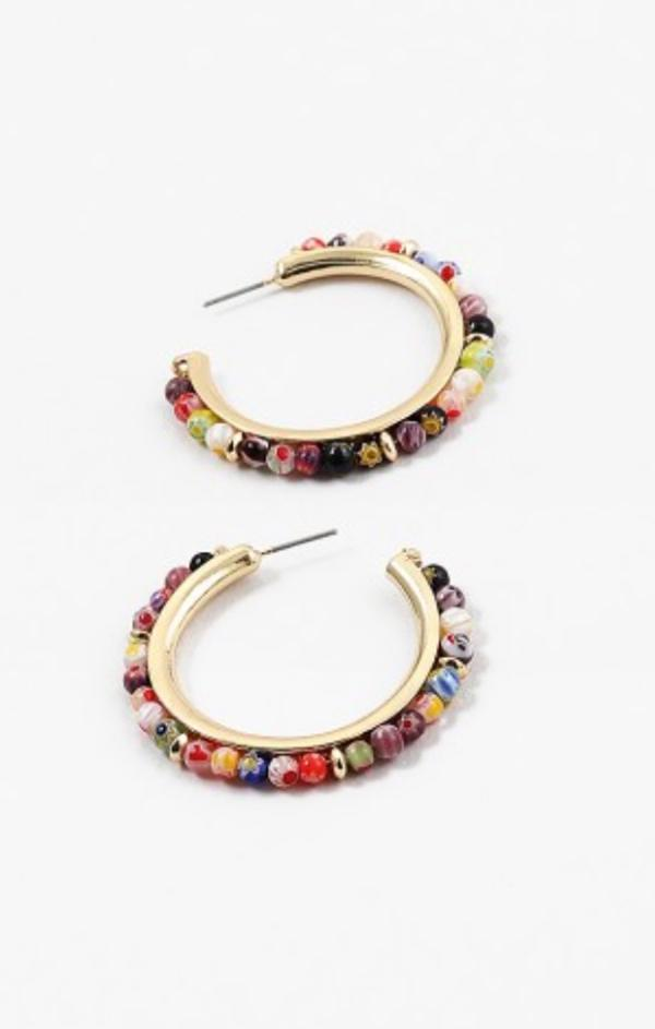 womens trendy Gold Murano Glass Bead Hoop earrings
