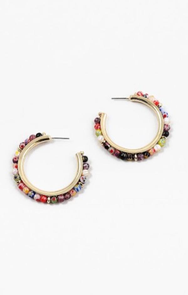 summer glass rainbow bead gold hoop earrings for women