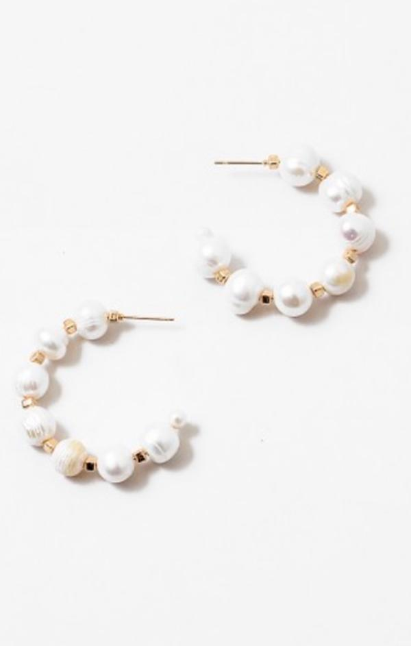 Summer beach Pearl gold Hoop Earrings