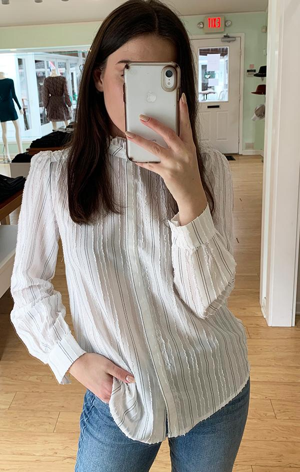 light weight spring high neck striped blouse
