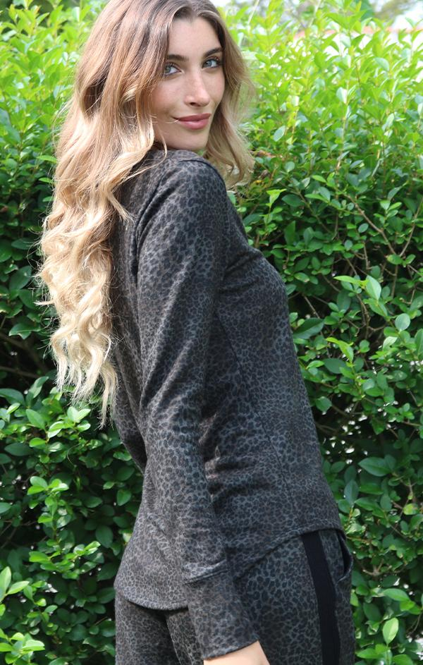 cozy leopard printed pullover