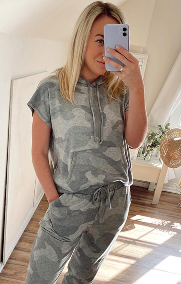 army camo print sleeveless top