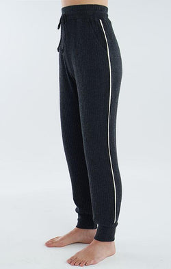 drawstring wiast ribbed lounge pants
