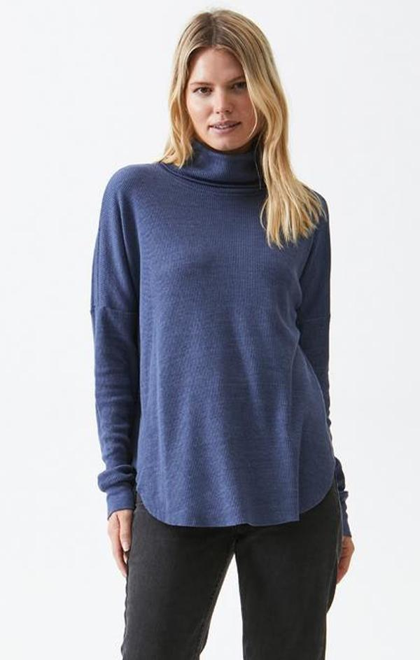blue turtleneck top