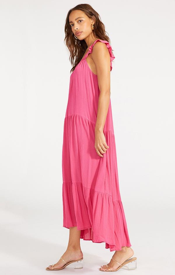 spring hot pink flattering maxi dress for women