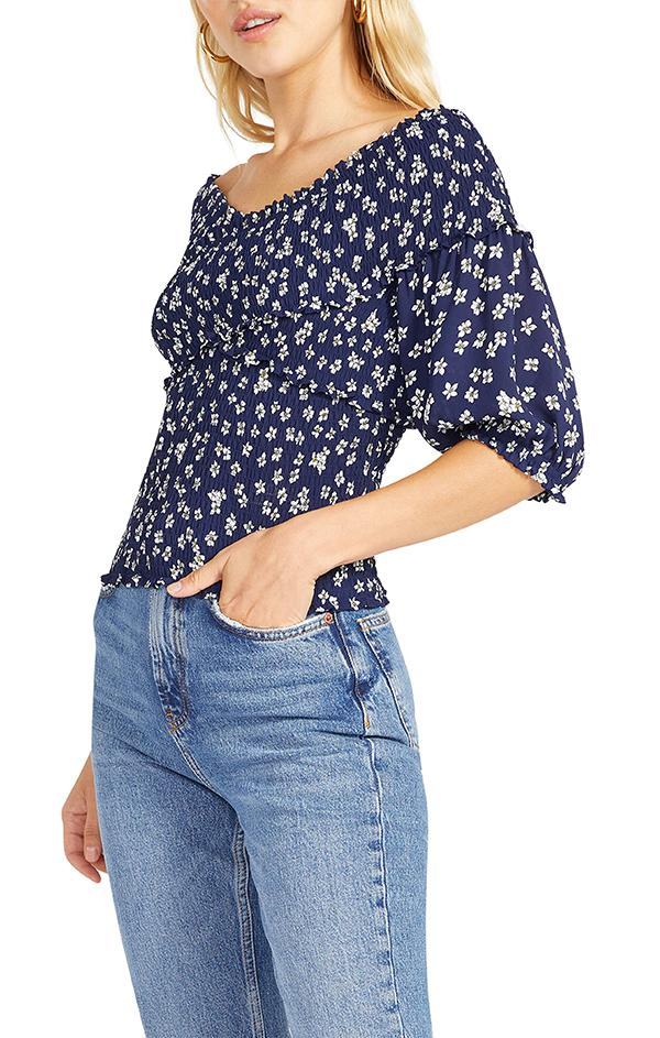 womens spring navy floral off the shoulder blouse