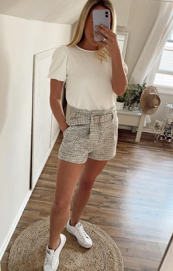 light grey plaid high waited belted shorts