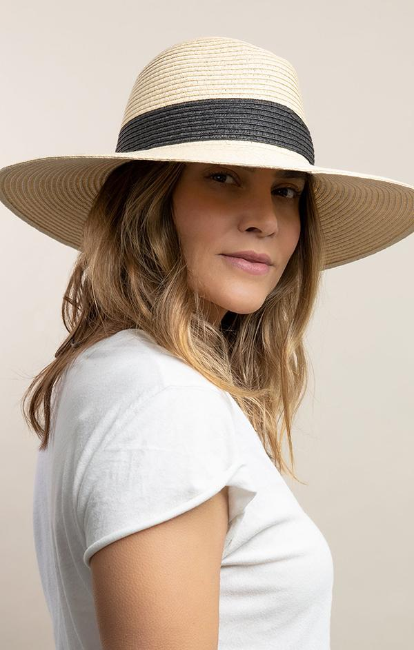 womens black natural straw beach hat Fine Classic Continental Hat