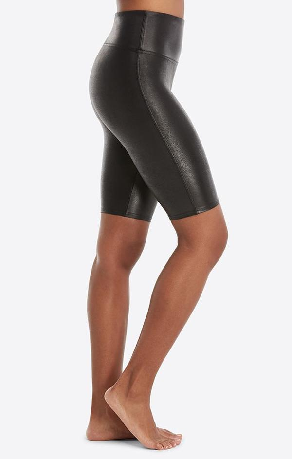 faux leather bike shorts