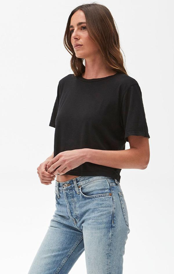 black cotton short sleeve spring tee shirt top for women