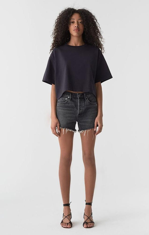 black cut off boyfriend shorts