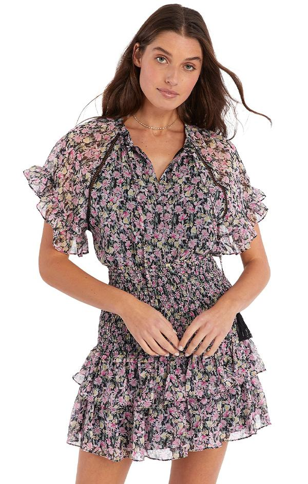 loveshackfancy ruffle smock waist mini skirt