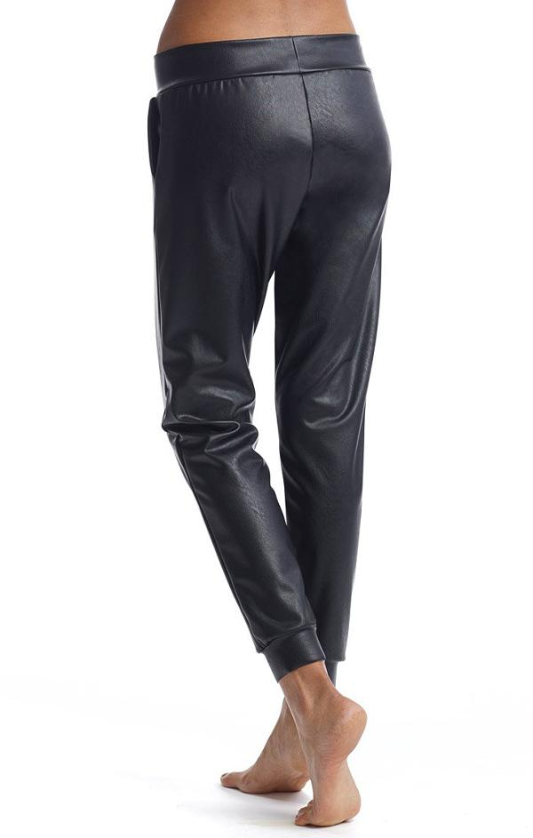 comfy faux leather joggers in black