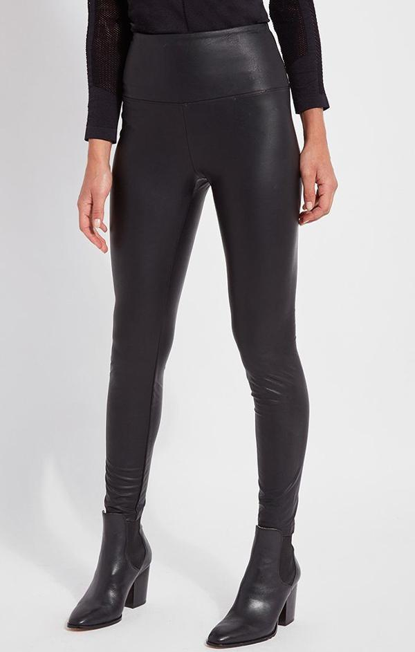 high waisted leather black leggings