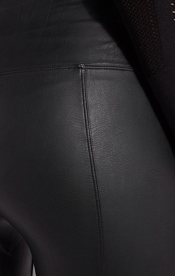 leather black high waisted leggings