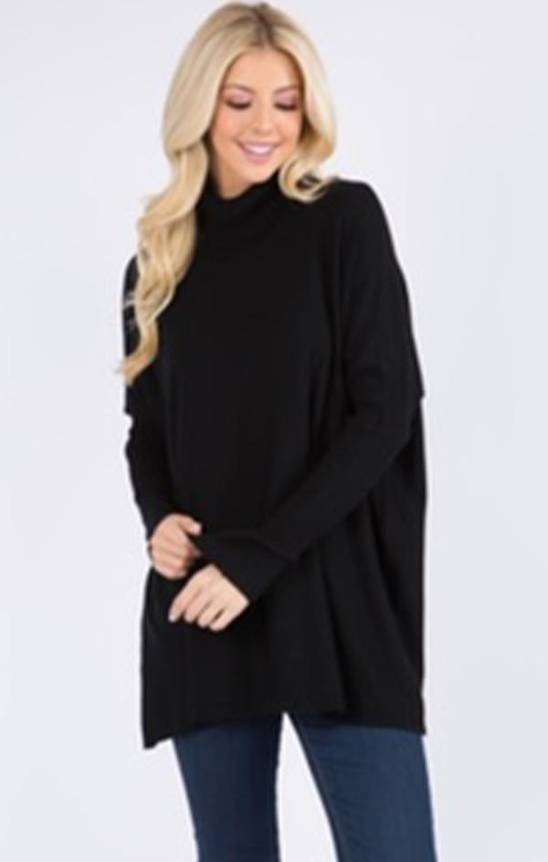 turtle neck long sleeve sweater in black