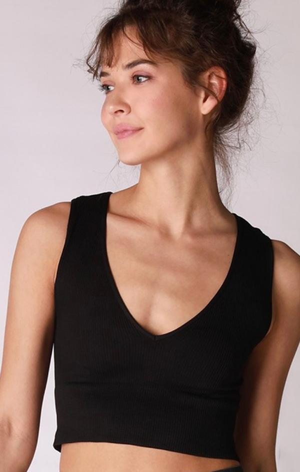 ribbed knit black tank