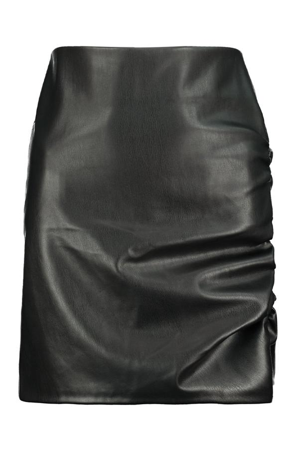 black faux leather edgy mini skirt