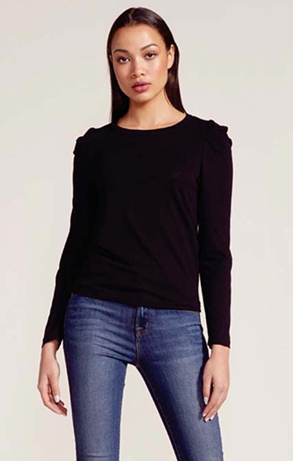 long sleeve crew neck black top