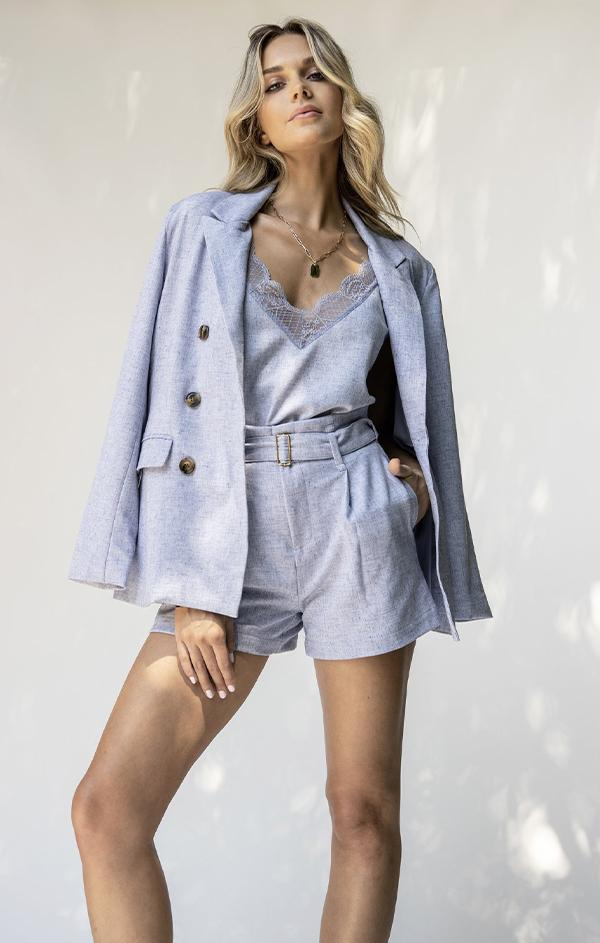 button front sky blue blazer