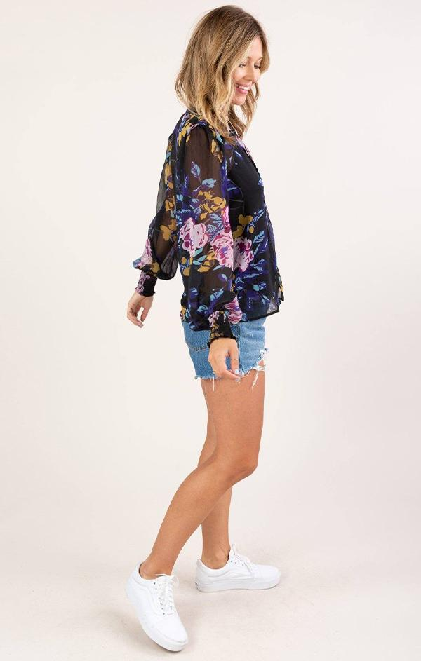 floral black blouse for fall
