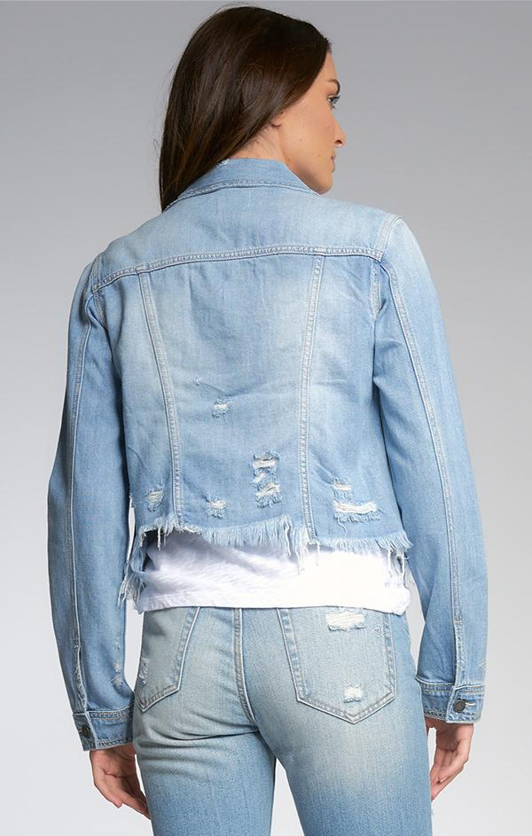 cropped frayed edge hem denim jacket