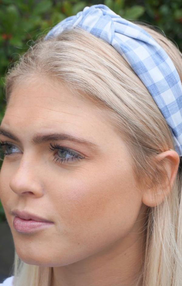 Gingham Top Knot Headband womens