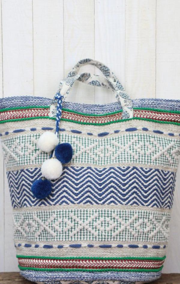 embroidered beach tote