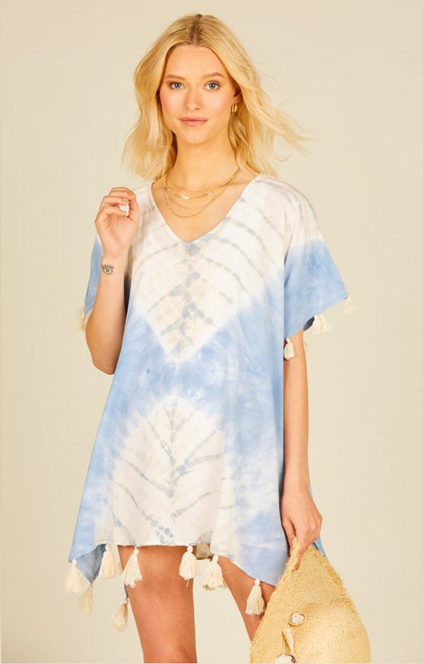 vintage havana placement tie dye coverup French blue