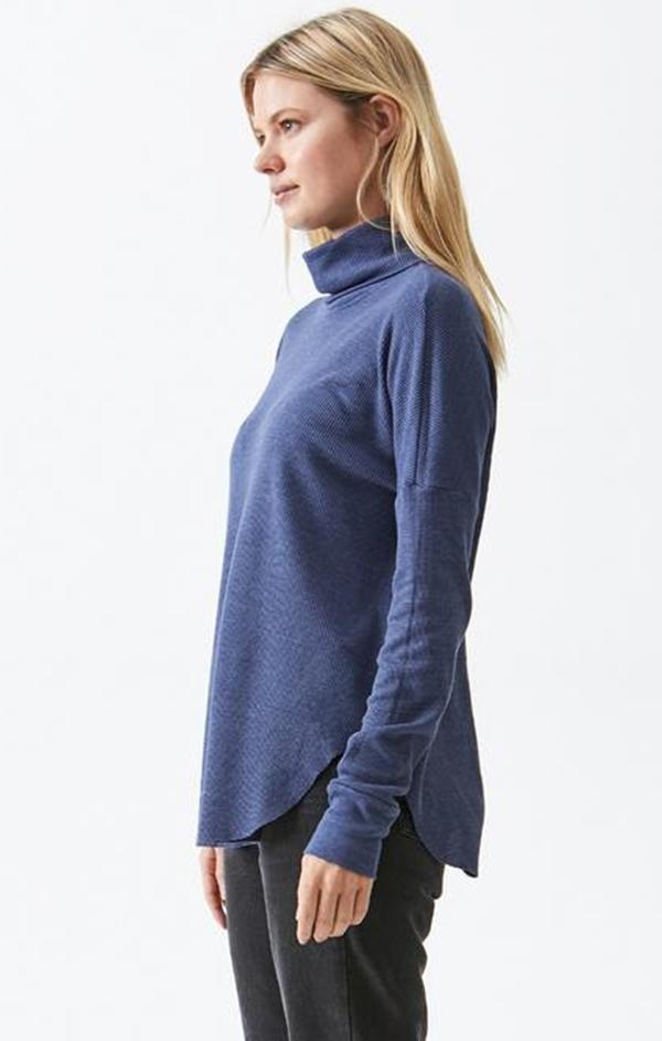 blue long sleeve turtleneck top