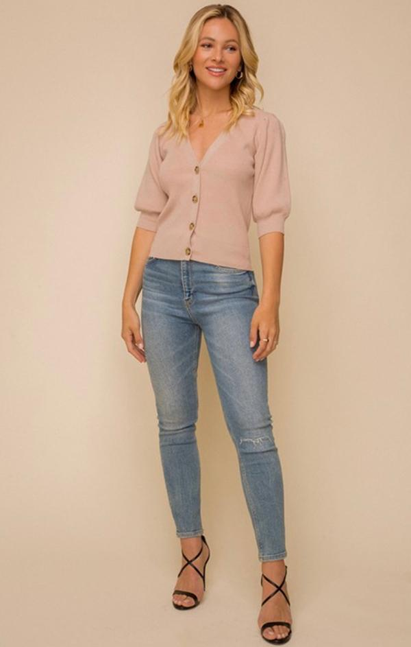 button front v neck cardi top