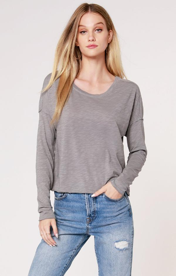 boat neck long sleeve tee