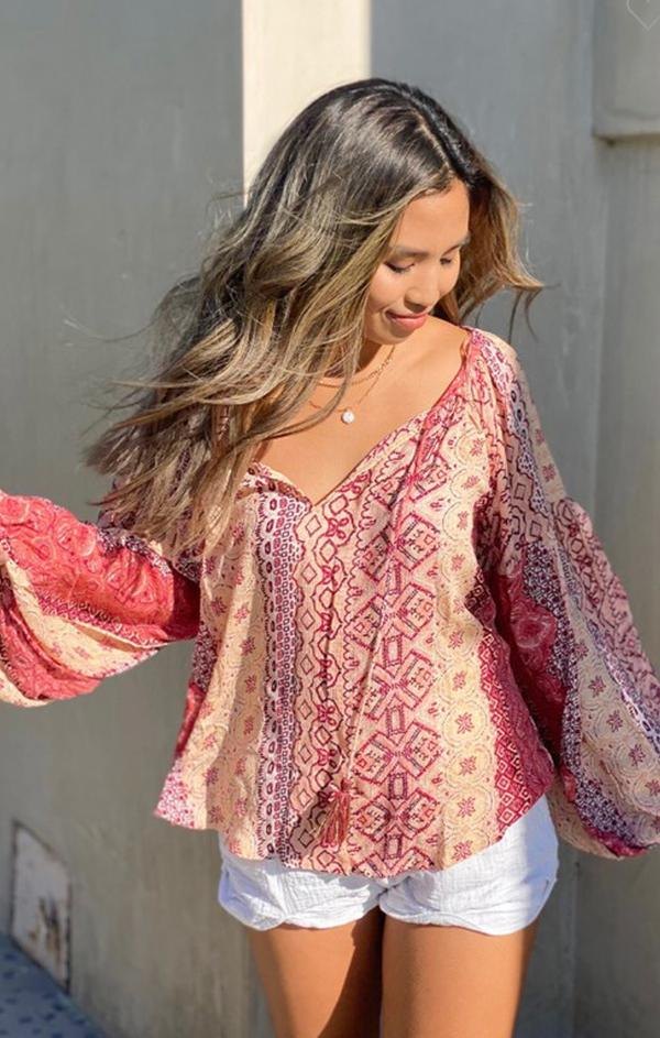 summer love stitch long sleeve Marrakesh top