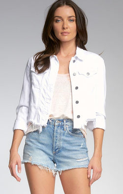 white denim jean jacket with silver buttons for women