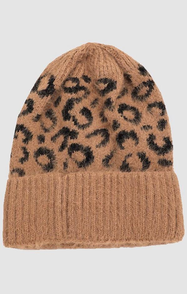 brown fuzzy leopard print beanie for winter