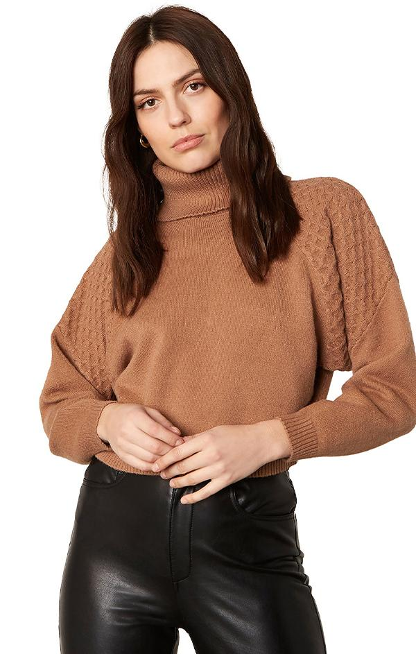 fold over turtleneck brown knit