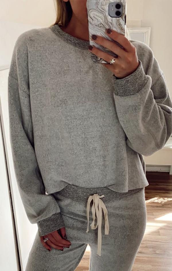 heather grey crew neck pullover by six fifty