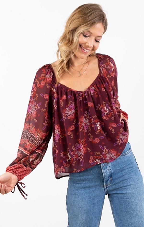 tie sleeve boho blouse for fall