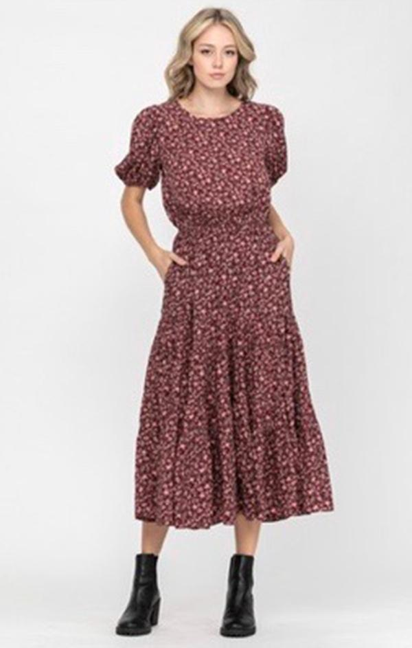 midi fall floral dress in burgundy