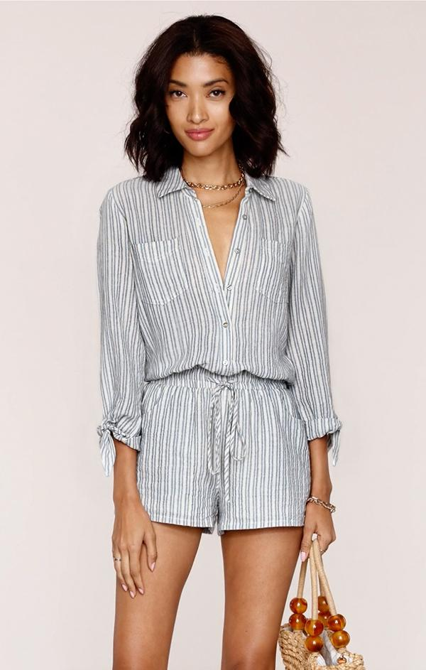 women's summer blue and white stripe beach romper jumpsuit