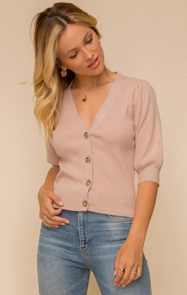 puff sleeve pink button up cardi for spring