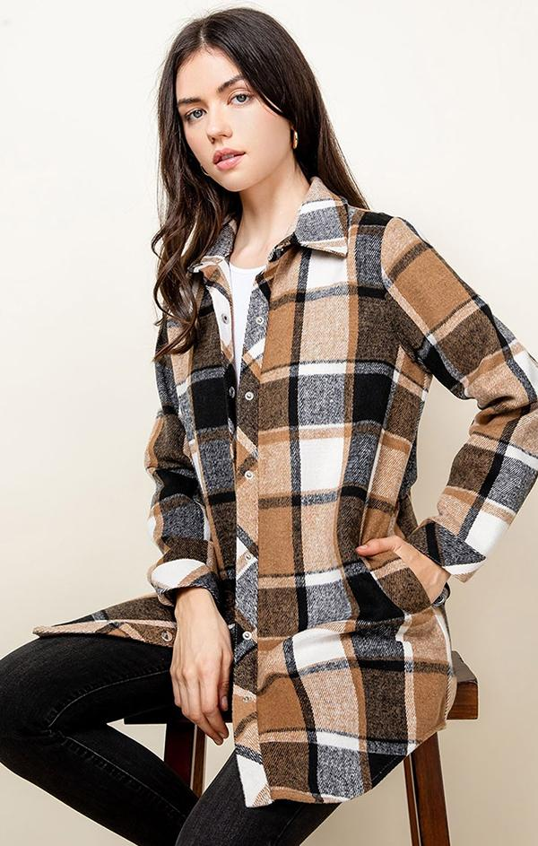 brown plaid oversized top