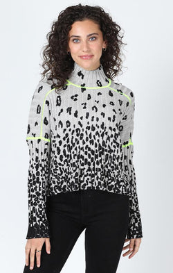 mock neck animal printed sweater