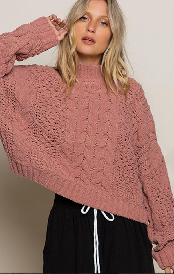 cable knit cozy sweater