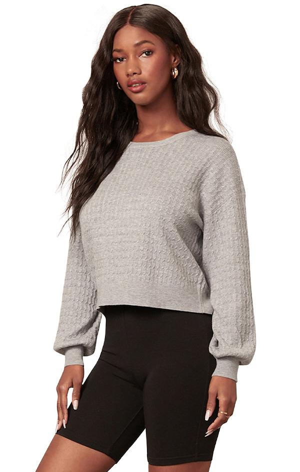 blouson sleeve cable knit top