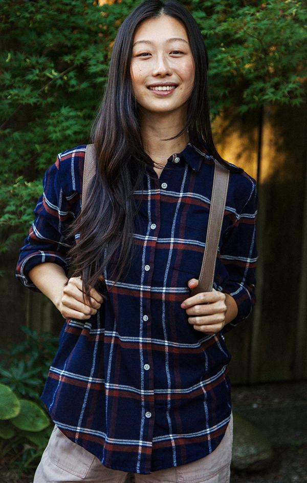 plaid button up top with side pockets