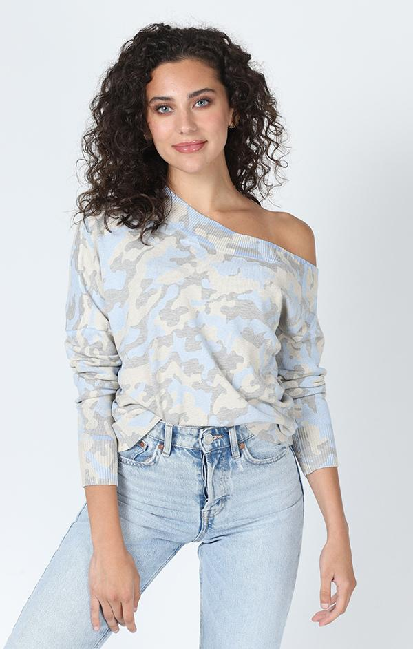 off the shoulder blue camo top