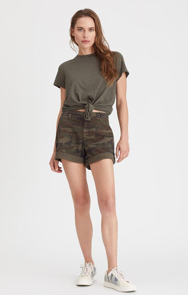 brown and green camo loose fitting shorts